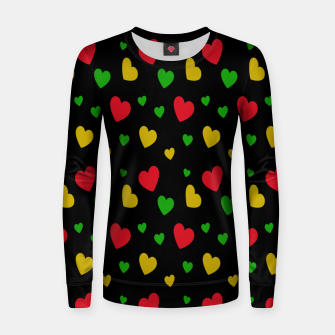 Thumbnail image of Colorful Hearts Red Green Yellow Valentines Day Gifts Black Women sweater, Live Heroes