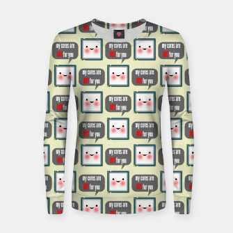 Miniaturka Cute geeky blushing CPU My cores are hot for you pattern Women sweater, Live Heroes