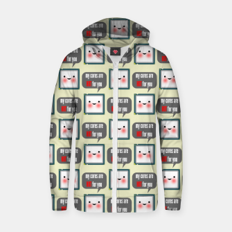 Thumbnail image of Cute geeky blushing CPU My cores are hot for you pattern Zip up hoodie, Live Heroes