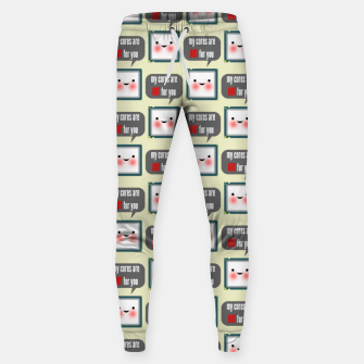Miniaturka Cute geeky blushing CPU My cores are hot for you pattern Sweatpants, Live Heroes