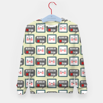 Thumbnail image of Cute geeky blushing CPU My cores are hot for you pattern Kid's sweater, Live Heroes