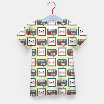 Thumbnail image of Cute geeky blushing CPU My cores are hot for you pattern Kid's t-shirt, Live Heroes