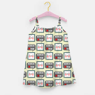 Thumbnail image of Cute geeky blushing CPU My cores are hot for you pattern Girl's dress, Live Heroes