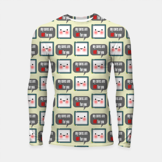 Thumbnail image of Cute geeky blushing CPU My cores are hot for you pattern Longsleeve rashguard , Live Heroes