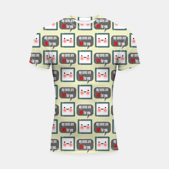 Thumbnail image of Cute geeky blushing CPU My cores are hot for you pattern Shortsleeve rashguard, Live Heroes