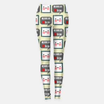 Miniaturka Cute geeky blushing CPU My cores are hot for you pattern Leggings, Live Heroes