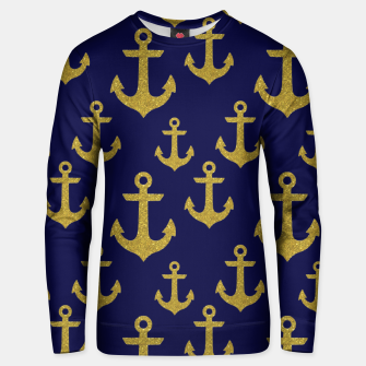 Thumbnail image of Golden Sparkle Anchor Navy Blue Sailing Nautical Captain Unisex sweater, Live Heroes