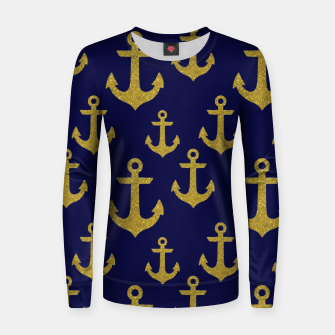 Thumbnail image of Golden Sparkle Anchor Navy Blue Sailing Nautical Captain Women sweater, Live Heroes