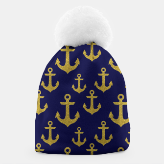 Thumbnail image of Golden Sparkle Anchor Navy Blue Sailing Nautical Captain Beanie, Live Heroes