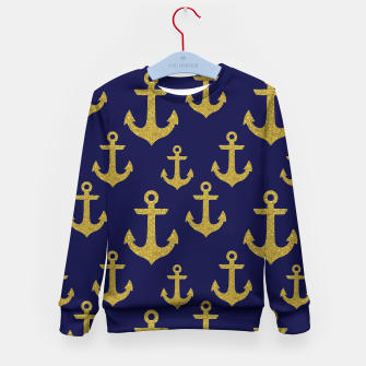 Thumbnail image of Golden Sparkle Anchor Navy Blue Sailing Nautical Captain Kid's sweater, Live Heroes