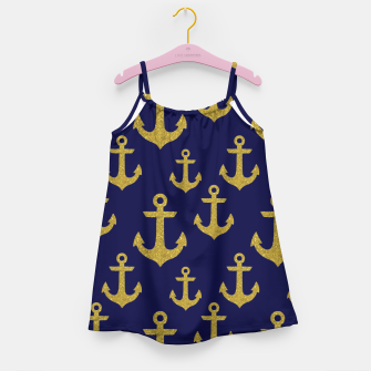 Thumbnail image of Golden Sparkle Anchor Navy Blue Sailing Nautical Captain Girl's dress, Live Heroes