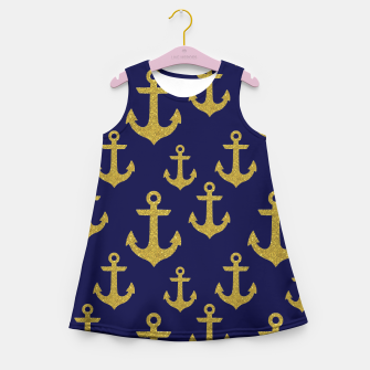 Thumbnail image of Golden Sparkle Anchor Navy Blue Sailing Nautical Captain Girl's summer dress, Live Heroes