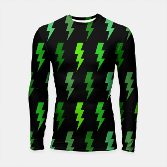 Thumbnail image of Green Lightning Bolt Electric Storm Thunder Gifts Longsleeve rashguard , Live Heroes