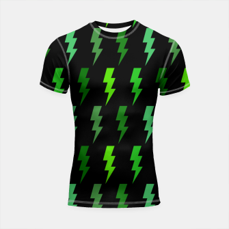 Miniature de image de Green Lightning Bolt Electric Storm Thunder Gifts Shortsleeve rashguard, Live Heroes