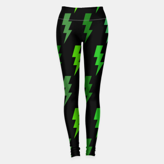 Miniature de image de Green Lightning Bolt Electric Storm Thunder Gifts Leggings, Live Heroes