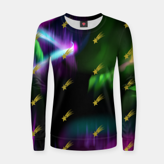 Thumbnail image of Northern Lights Colors Golden Shooting Stars Sky Wish Women sweater, Live Heroes