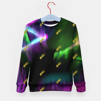 Thumbnail image of Northern Lights Colors Golden Shooting Stars Sky Wish Kid's sweater, Live Heroes