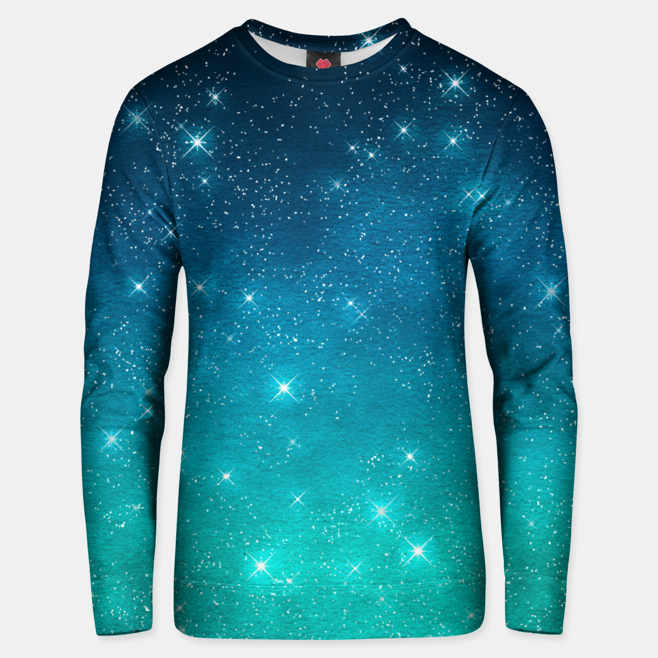 Image of Starry Night Sky Stars Lovers Astrology Universe Blue Green Unisex sweater - Live Heroes