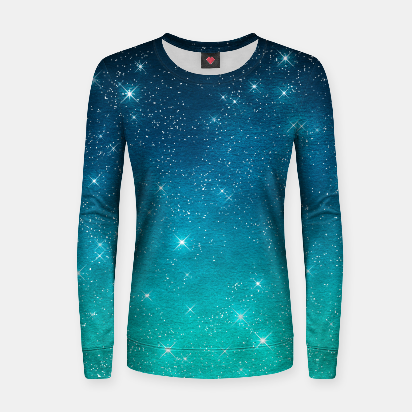 Image of Starry Night Sky Stars Lovers Astrology Universe Blue Green Women sweater - Live Heroes