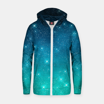Imagen en miniatura de Starry Night Sky Stars Lovers Astrology Universe Blue Green Zip up hoodie, Live Heroes