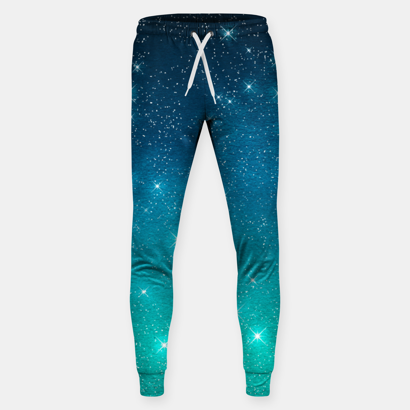Image of Starry Night Sky Stars Lovers Astrology Universe Blue Green Sweatpants - Live Heroes