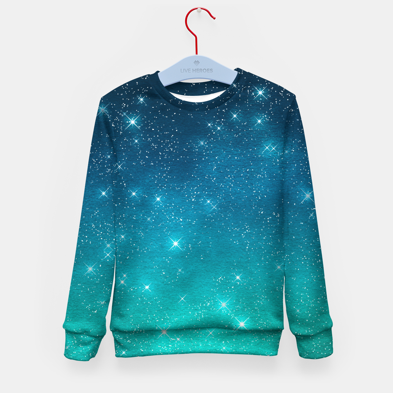 Image of Starry Night Sky Stars Lovers Astrology Universe Blue Green Kid's sweater - Live Heroes