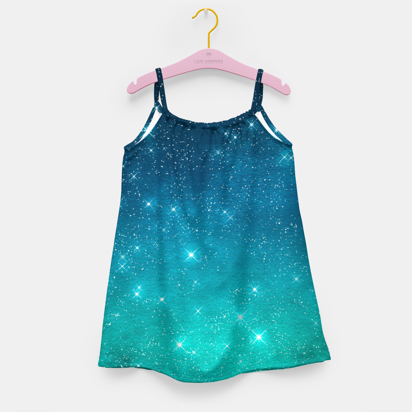 Image of Starry Night Sky Stars Lovers Astrology Universe Blue Green Girl's dress - Live Heroes