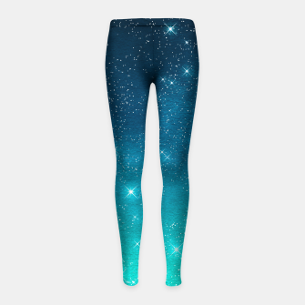 Imagen en miniatura de Starry Night Sky Stars Lovers Astrology Universe Blue Green Girl's leggings, Live Heroes