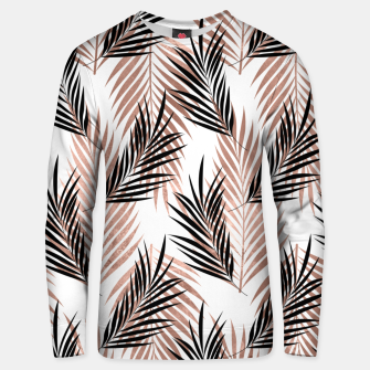 Thumbnail image of Black Golden Rose Palm Leaf Tropical Tree Hawaiian Beach Unisex sweater, Live Heroes