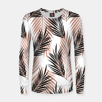 Thumbnail image of Black Golden Rose Palm Leaf Tropical Tree Hawaiian Beach Women sweater, Live Heroes