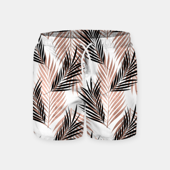 Thumbnail image of Black Golden Rose Palm Leaf Tropical Tree Hawaiian Beach Swim Shorts, Live Heroes
