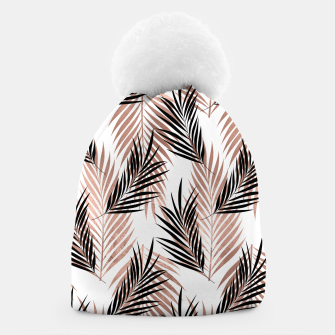 Thumbnail image of Black Golden Rose Palm Leaf Tropical Tree Hawaiian Beach Beanie, Live Heroes