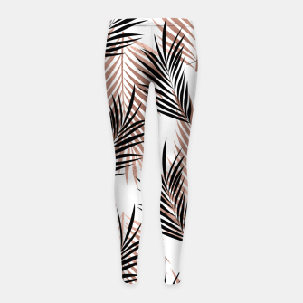 Thumbnail image of Black Golden Rose Palm Leaf Tropical Tree Hawaiian Beach Girl's leggings, Live Heroes