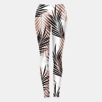 Thumbnail image of Black Golden Rose Palm Leaf Tropical Tree Hawaiian Beach Leggings, Live Heroes