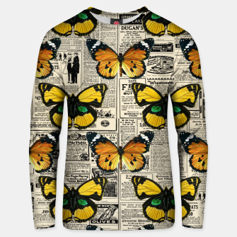 Thumbnail image of Butterflies Warm Color Vintage Newspaper Butterfly Lover Unisex sweater, Live Heroes