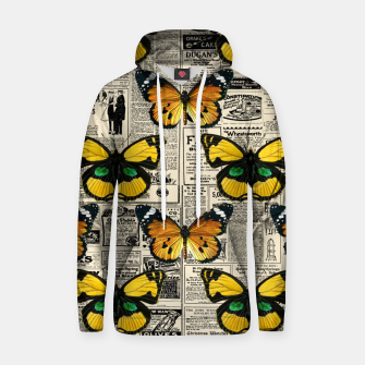 Thumbnail image of Butterflies Warm Color Vintage Newspaper Butterfly Lover Hoodie, Live Heroes