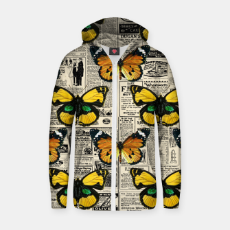 Thumbnail image of Butterflies Warm Color Vintage Newspaper Butterfly Lover Zip up hoodie, Live Heroes