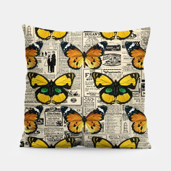 Thumbnail image of Butterflies Warm Color Vintage Newspaper Butterfly Lover Pillow, Live Heroes