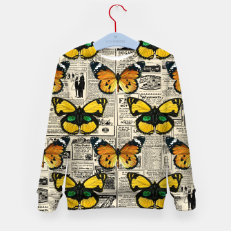 Thumbnail image of Butterflies Warm Color Vintage Newspaper Butterfly Lover Kid's sweater, Live Heroes