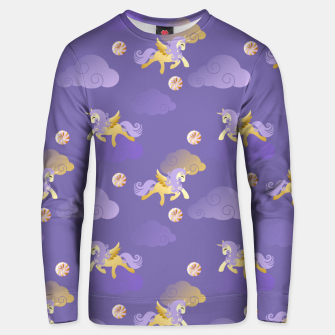 Imagen en miniatura de Golden Unicorn Horse Flying Purple Sky Clouds Fantasy Lover Unisex sweater, Live Heroes