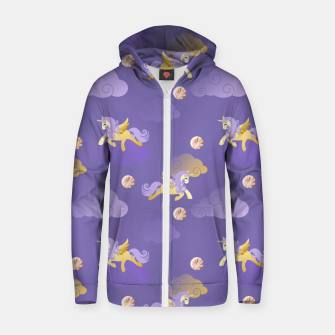 Imagen en miniatura de Golden Unicorn Horse Flying Purple Sky Clouds Fantasy Lover Zip up hoodie, Live Heroes