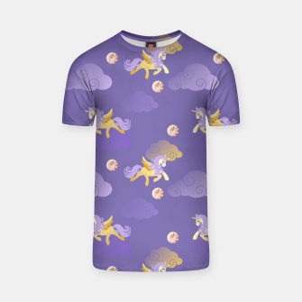 Imagen en miniatura de Golden Unicorn Horse Flying Purple Sky Clouds Fantasy Lover T-shirt, Live Heroes
