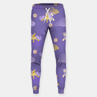 Imagen en miniatura de Golden Unicorn Horse Flying Purple Sky Clouds Fantasy Lover Sweatpants, Live Heroes