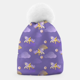Imagen en miniatura de Golden Unicorn Horse Flying Purple Sky Clouds Fantasy Lover Beanie, Live Heroes