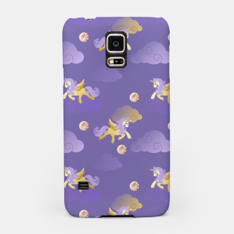 Imagen en miniatura de Golden Unicorn Horse Flying Purple Sky Clouds Fantasy Lover Samsung Case, Live Heroes