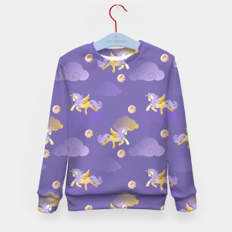 Imagen en miniatura de Golden Unicorn Horse Flying Purple Sky Clouds Fantasy Lover Kid's sweater, Live Heroes