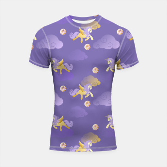 Imagen en miniatura de Golden Unicorn Horse Flying Purple Sky Clouds Fantasy Lover Shortsleeve rashguard, Live Heroes