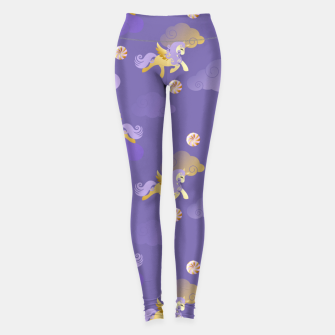 Imagen en miniatura de Golden Unicorn Horse Flying Purple Sky Clouds Fantasy Lover Leggings, Live Heroes