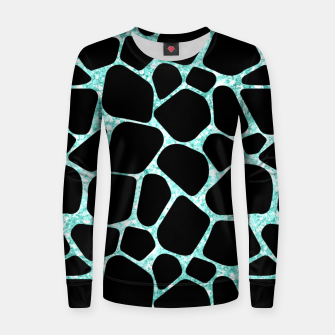 Thumbnail image of Black Stones Bright Turquoise Geometric Forms Abstrac Art Women sweater, Live Heroes