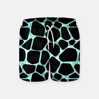 Thumbnail image of Black Stones Bright Turquoise Geometric Forms Abstrac Art Swim Shorts, Live Heroes
